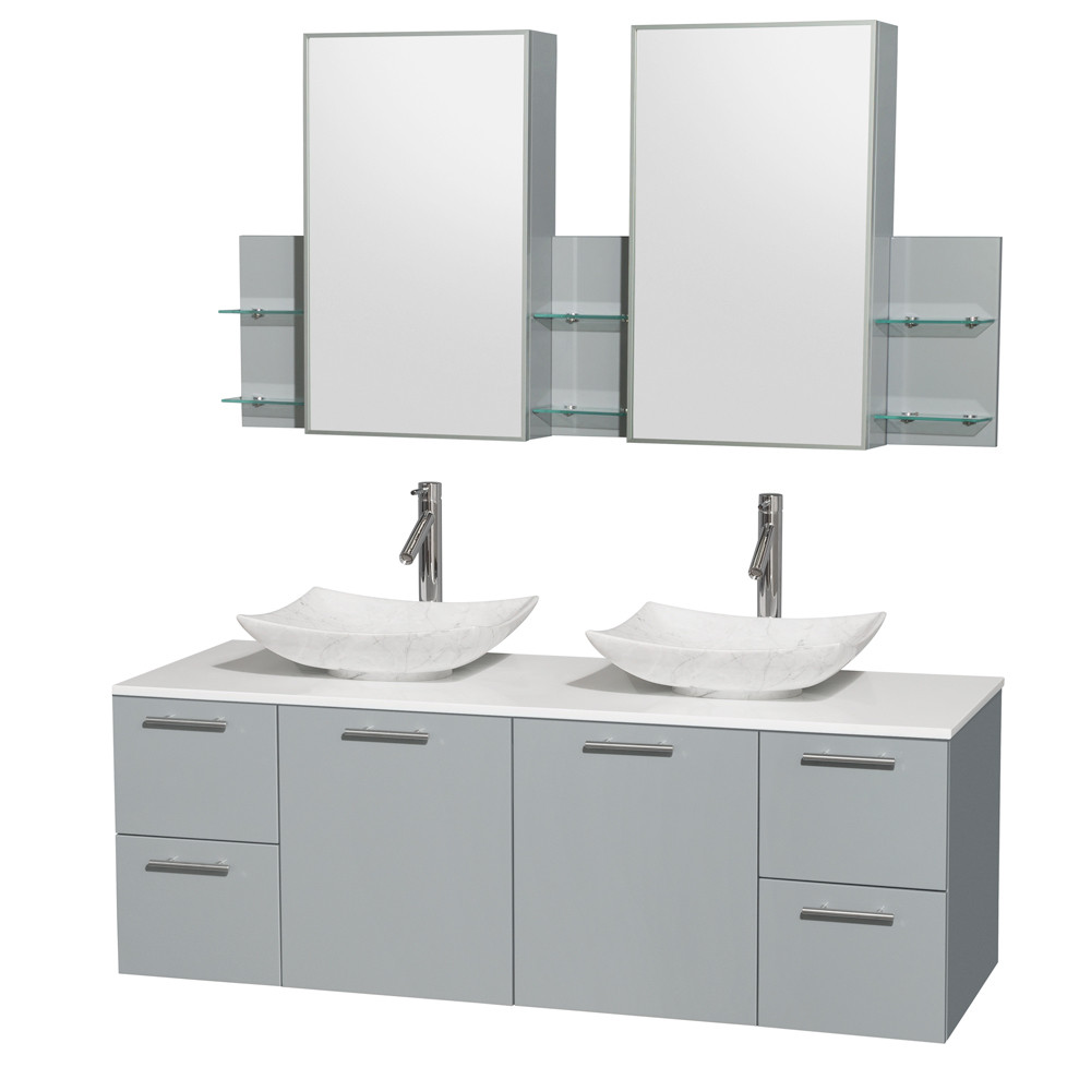 Wyndham WCR410060DDGWSGS6MED Double Bathroom Vanity Set with Man-Made Stone Top