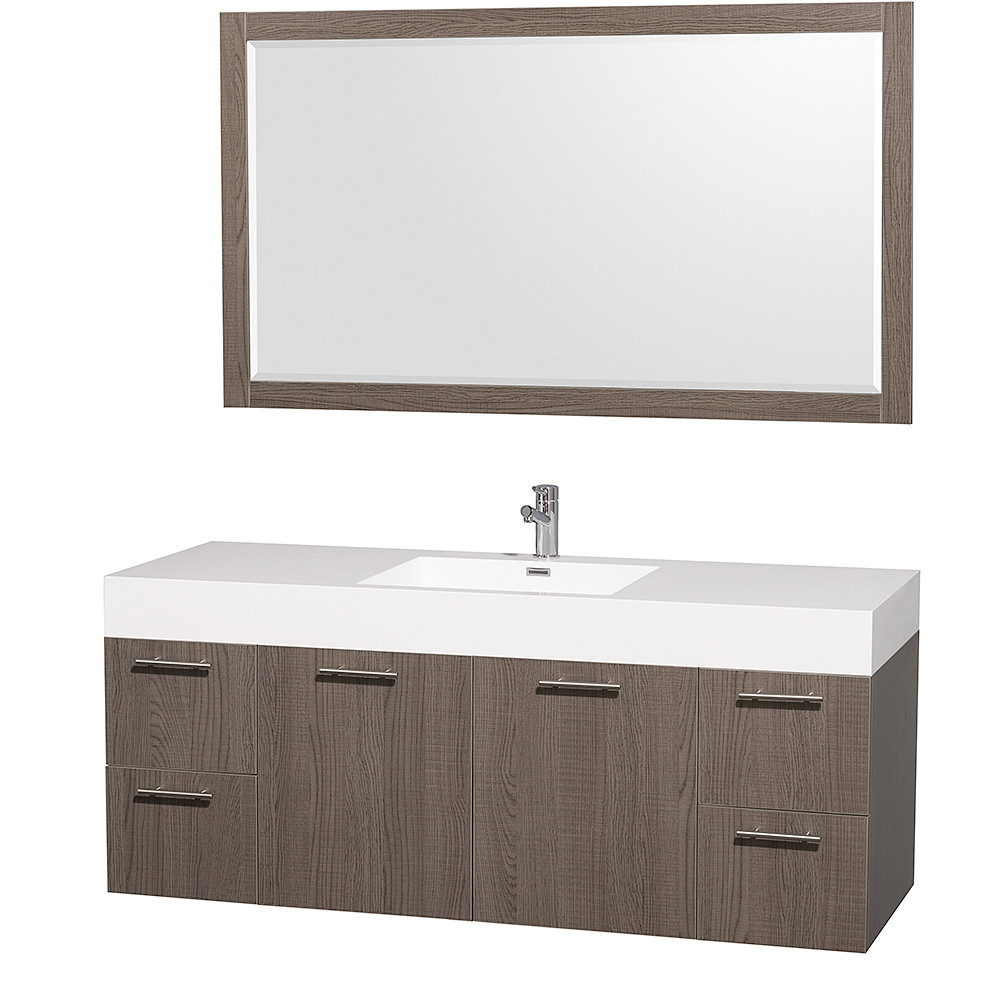 Wyndham WCR410060GOARSN Grey Oak Amare Single Vanity w/ Acrilyc Resin & Mirror