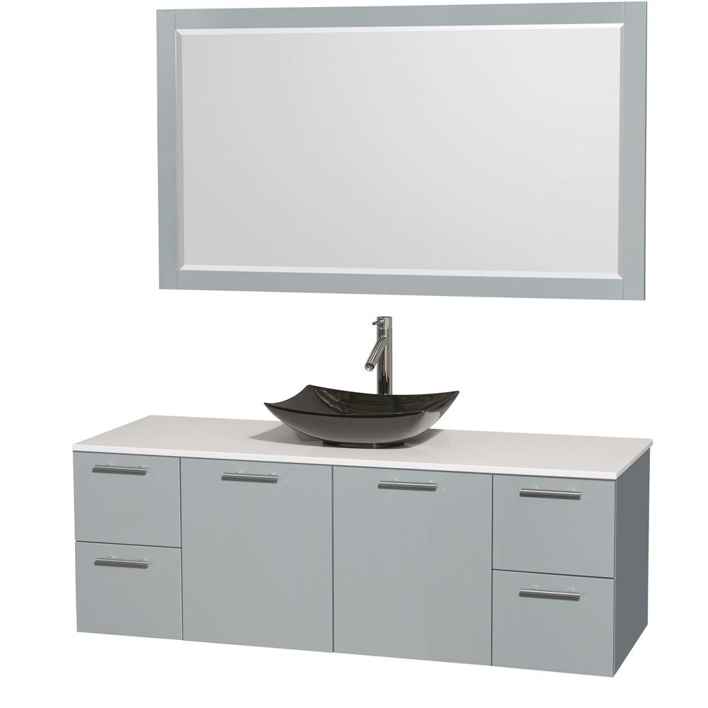 Wyndham WCR410060SDGWSGS4M58 Single Sink Vanity Set with Man-Made Stone Top