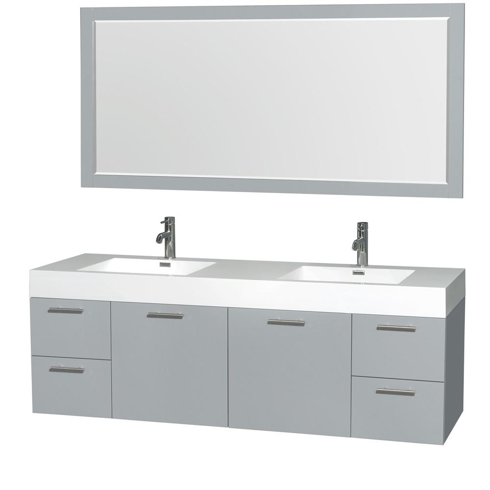 Wyndham WCR410072DDGARINTM70 Amare 72 Inch Wall-Mounted Double Bathroom Vanity Set