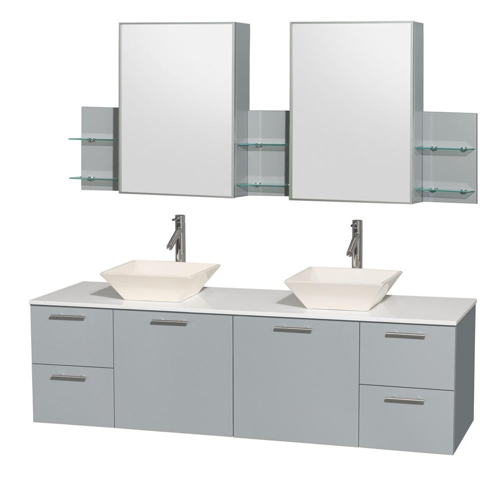 Wyndham WCR410072DDGWSD2BMED Double Bathroom Vanity Set with Man-Made Stone Top