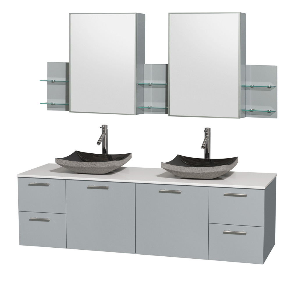 Wyndham WCR410072DDGWSGS1MED Modern Double Vanity with White Man-Made Stone Top