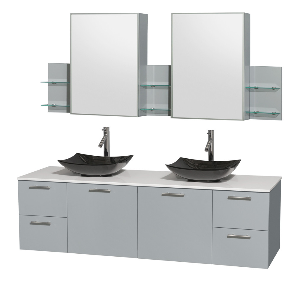Wyndham WCR410072DDGWSGS4MED Amare Double Basin Vanity Set with Man-Made Stone Top