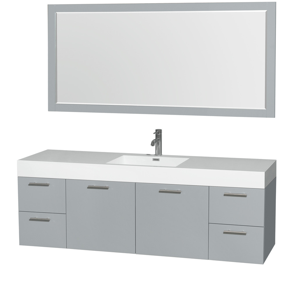 Wyndham WCR410072SDGARINTM70 Single Bathroom Vanity Set with Integrated Sink and Mirror