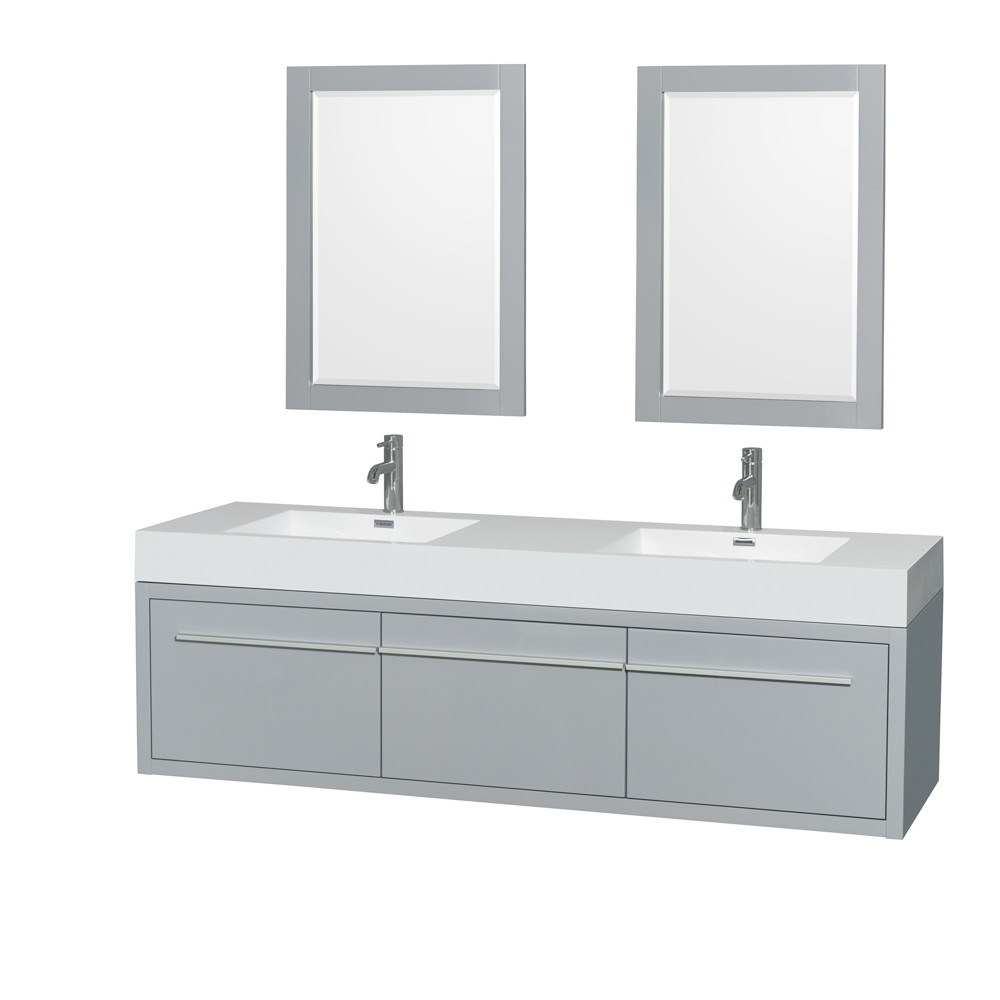 Wyndham WCR430072DDGARINTM24 72 Inch Wall-Mounted Double Bath Vanity with Mirrors