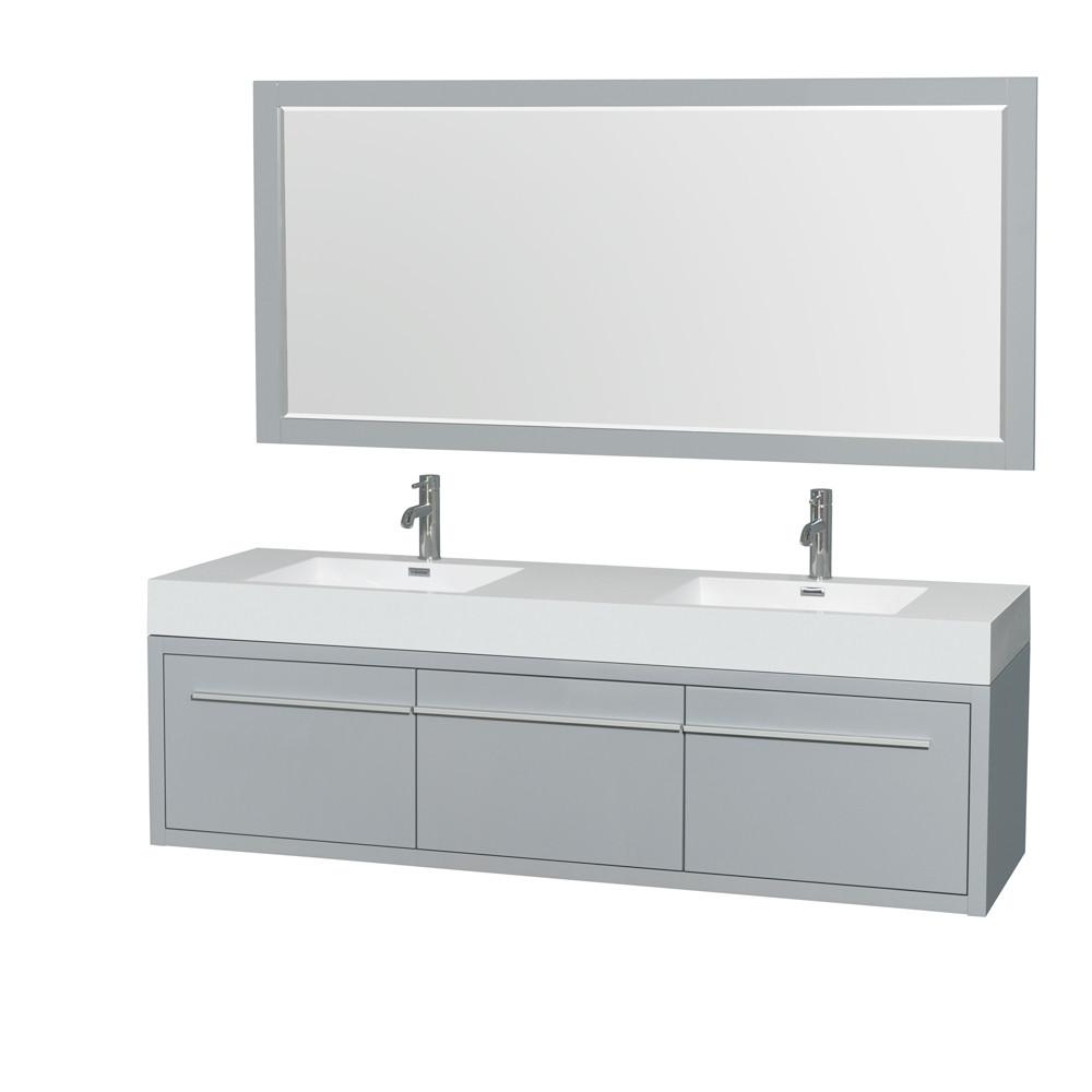 Wyndham WCR430072DDGARINTM70 Axa 72 Inch Wall-Mounted Double Bathroom Vanity Set