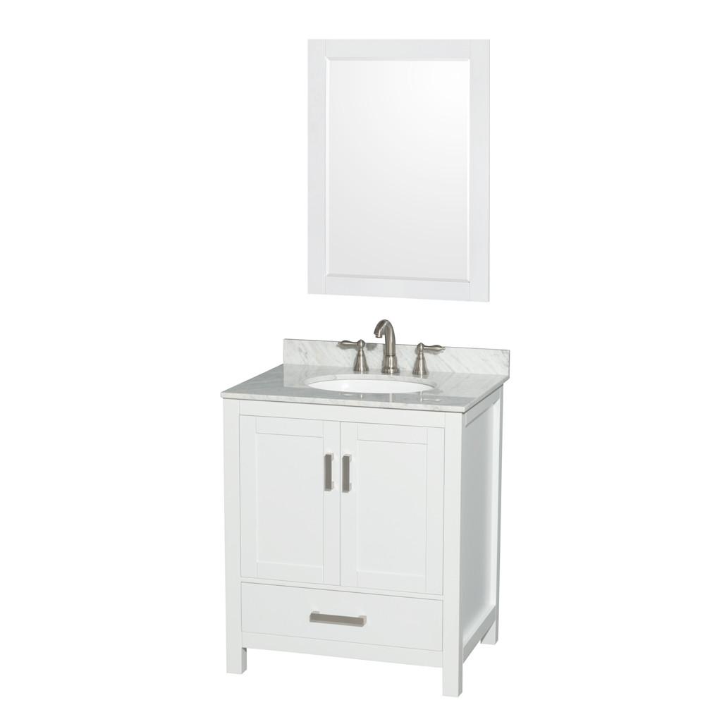 Wyndham WCS141430SWHCMUNOM24 White Vanity with White Carrera Marble Top and Round Sink