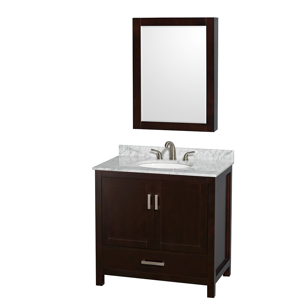 Wyndham WCS141436SESCMUNOMED Espresso - Carrera Marble Top - with Medicine Cabinet