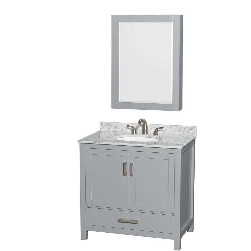 Wyndham WCS141436SGYCMUNOMED Vanity with White Carrera Marble Top and Round Sink