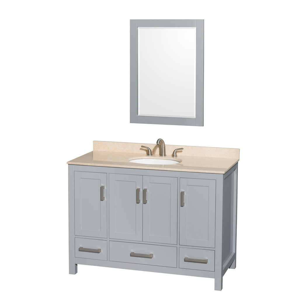 Wyndham WCS141448SGYIVUNOM24 48 inch Vanity in Gray with Ivory Marble and Round Sink