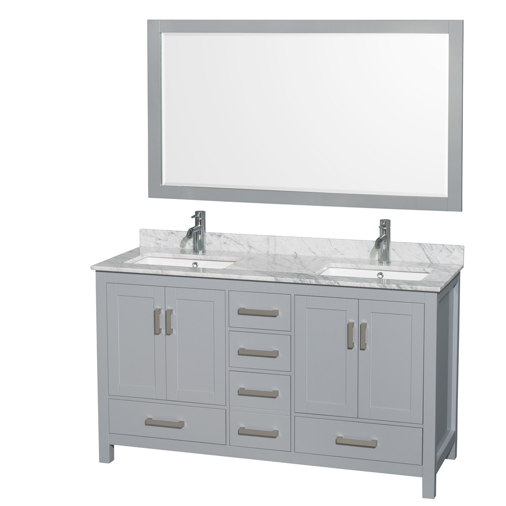 Wyndham WCS141460DGYCMUNSM58 60 inch Vanity in Gray with Carrera Marble and Square Sink