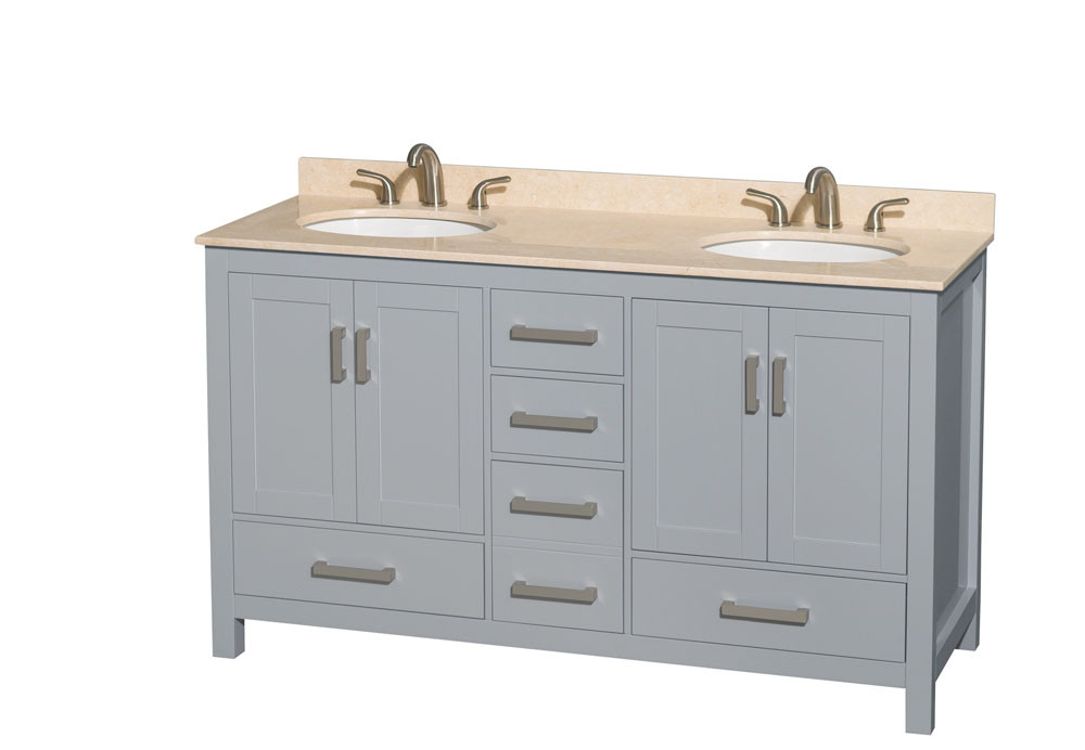 Wyndham WCS141460DGYIVUNOMXX 60 inch Vanity in Gray with Ivory Marble and Round Sink