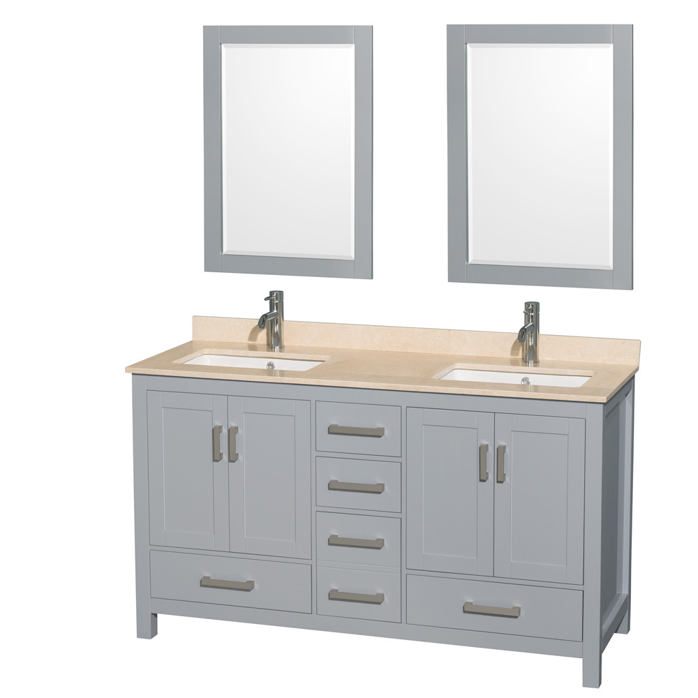 Wyndham WCS141460DGYIVUNSM24 60 inch Vanity in Gray with Ivory Marble and Square Sink