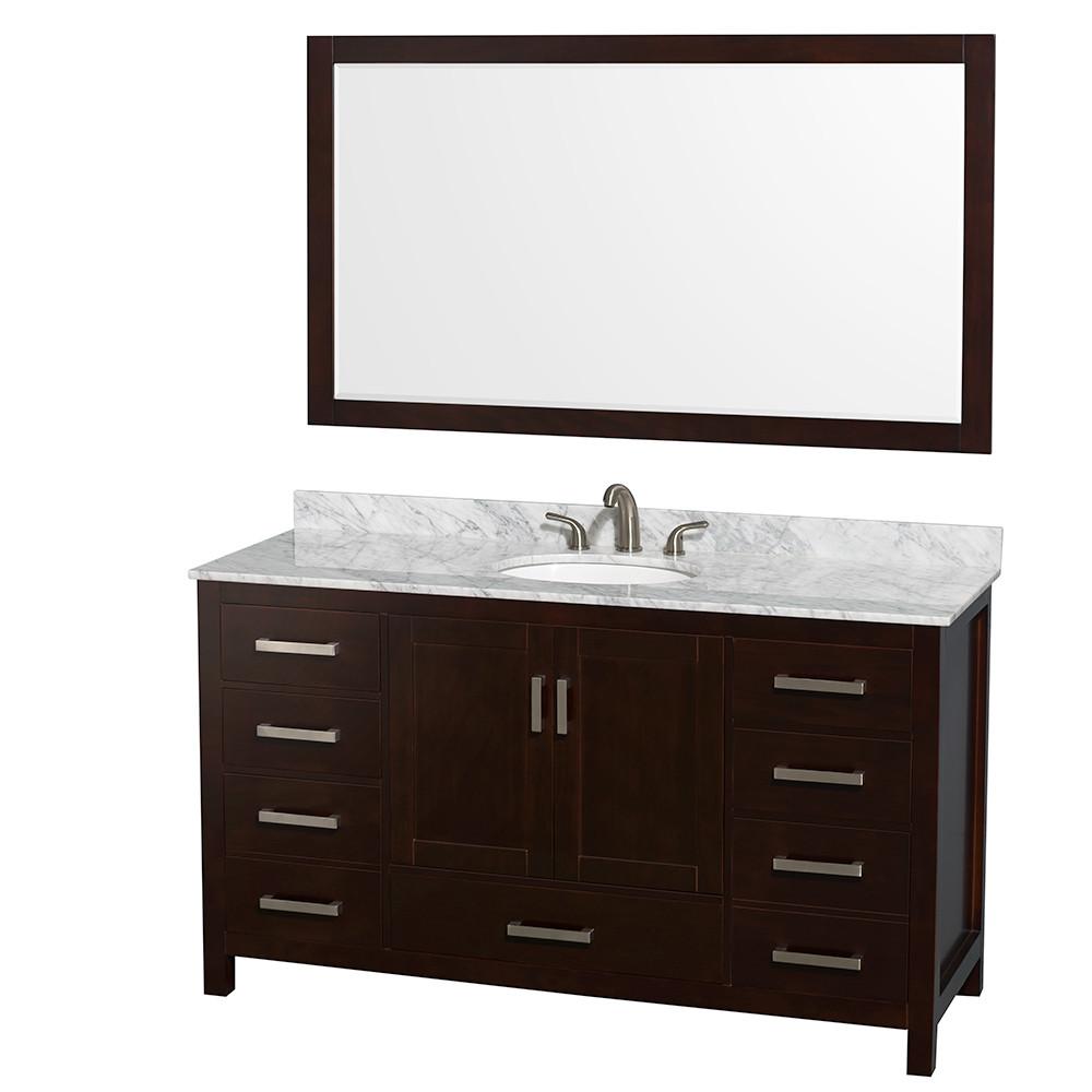 Wyndham WCS141460SESCMUNOM58 Espresso - Carrera Marble Top - with Mirror