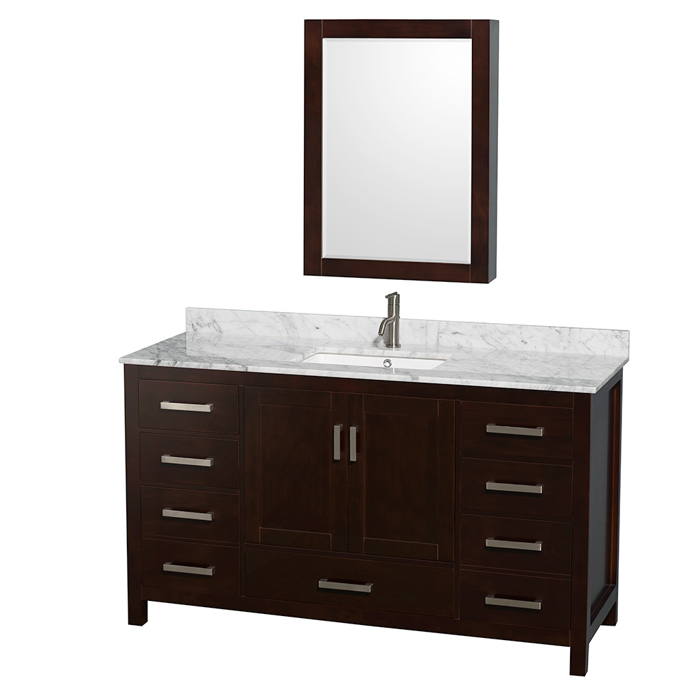 Wyndham WCS141460SESCMUNSMED Espresso - Carrera Marble Top - with Medicine Cabinet