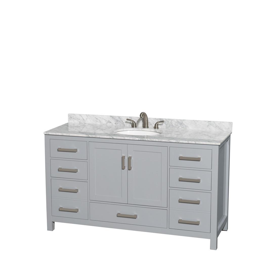 Wyndham WCS141460SGYCMUNOMXX 60 inch Vanity in Gray with Carrera Marble and Round Sink