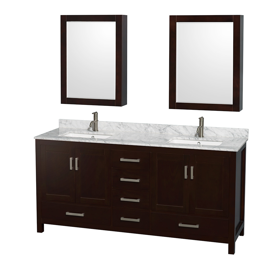 Wyndham WCS141472DESCMUNSMED Espresso - Carrera Marble Top - with Medicine Cabinets