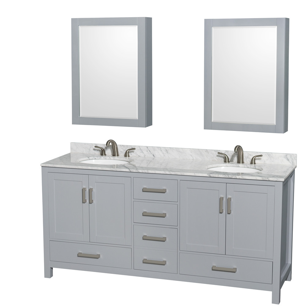 Wyndham WCS141472DGYCMUNOMED 72 inch Vanity in Gray with Carrera Marble and Round Sink