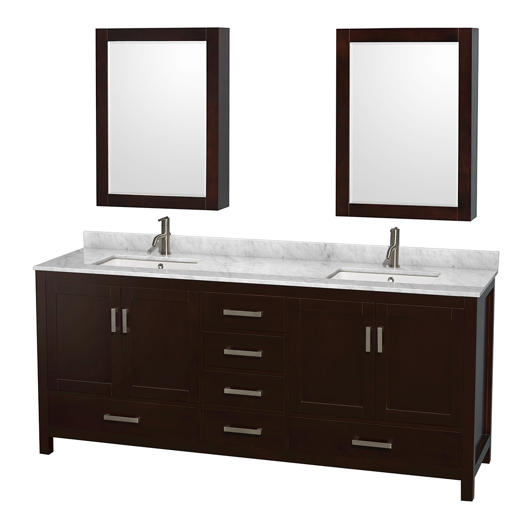 Wyndham WCS141480D….UNSMED Espresso - Carrera Marble Top - with Medicine Cabinets