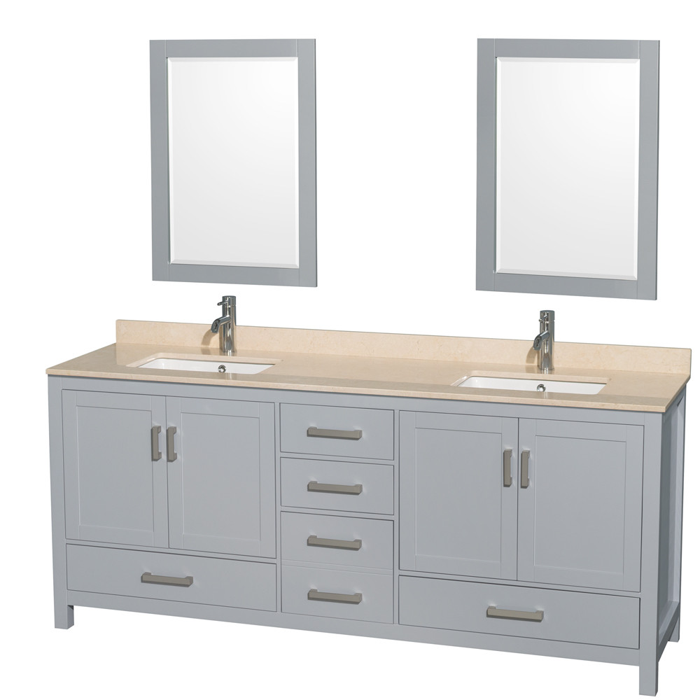 Wyndham WCS141480DGYIVUNSM24 80 inch Vanity in Gray with Ivory Marble and Square Sink