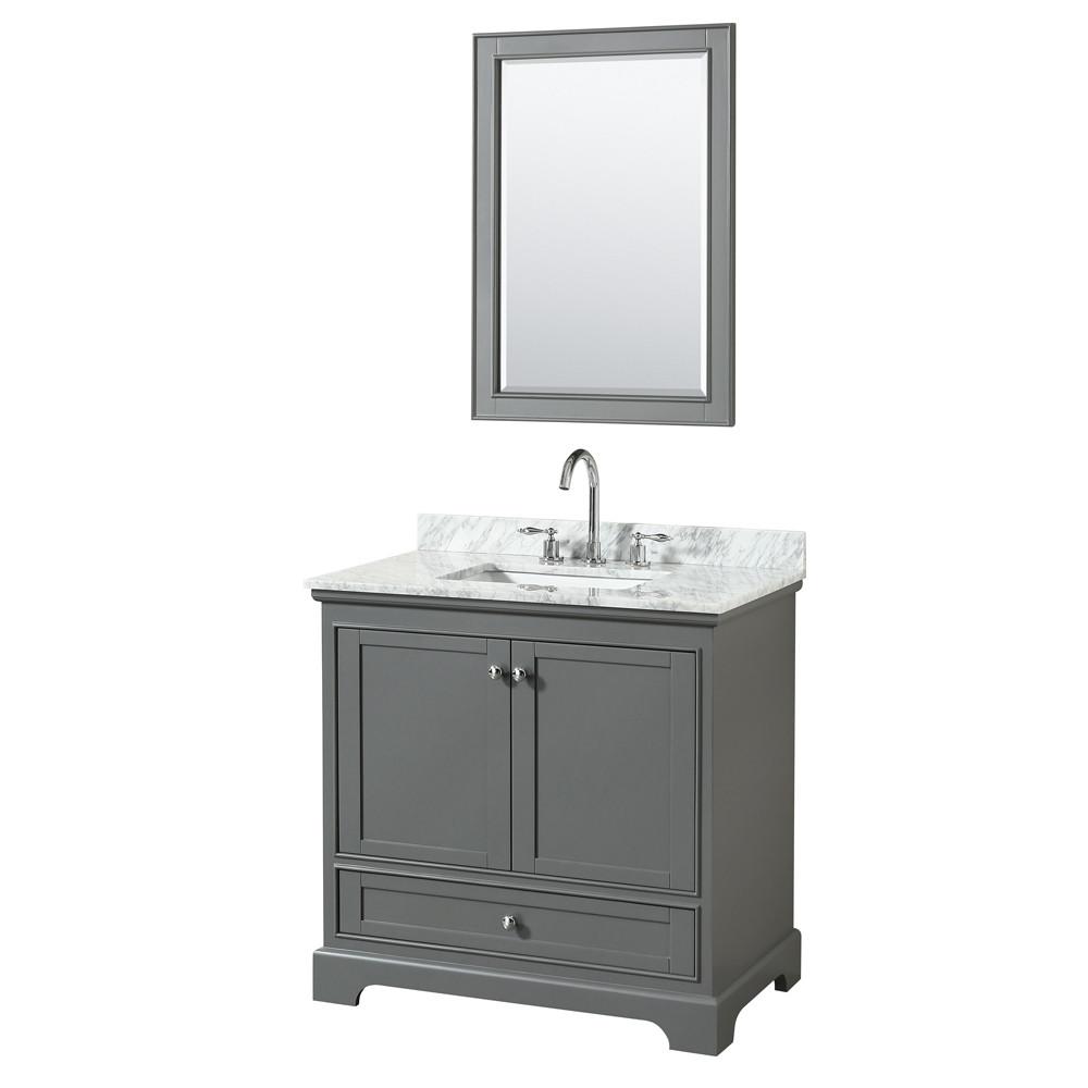 Wyndham WCS202036SKGCMUNSM24 Single Vanity Set In Dark Gray With Marble Top