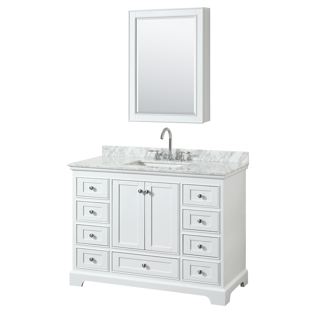 Wyndham WCS202048SWHCMUNSMED Single Vanity In White With Medicine Cabinet