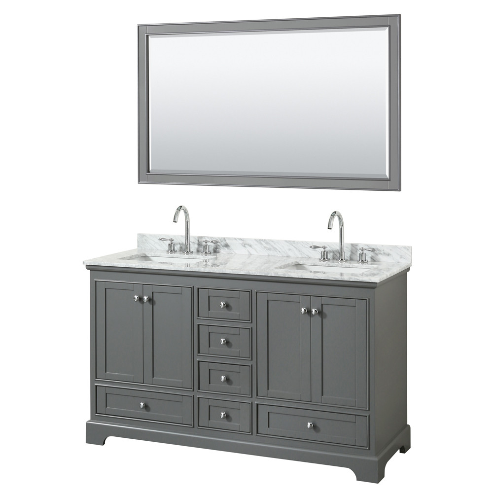 Wyndham WCS202060DKGCMUNSM58 Double Bath Vanity In Dark Gray With Mirrors