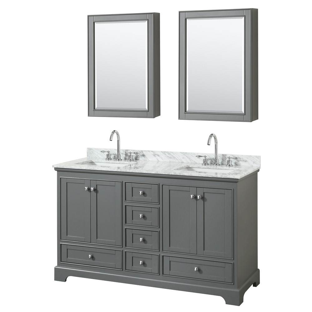 Wyndham WCS202060DKGCMUNSMED Dark Gray Double Vanity With Medicine Cabinets