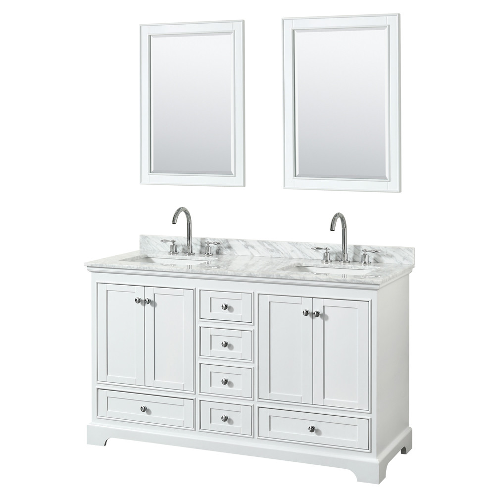 Wyndham WCS202060DWHCMUNSM24 Double Vanity In White With Carrara Marble Top