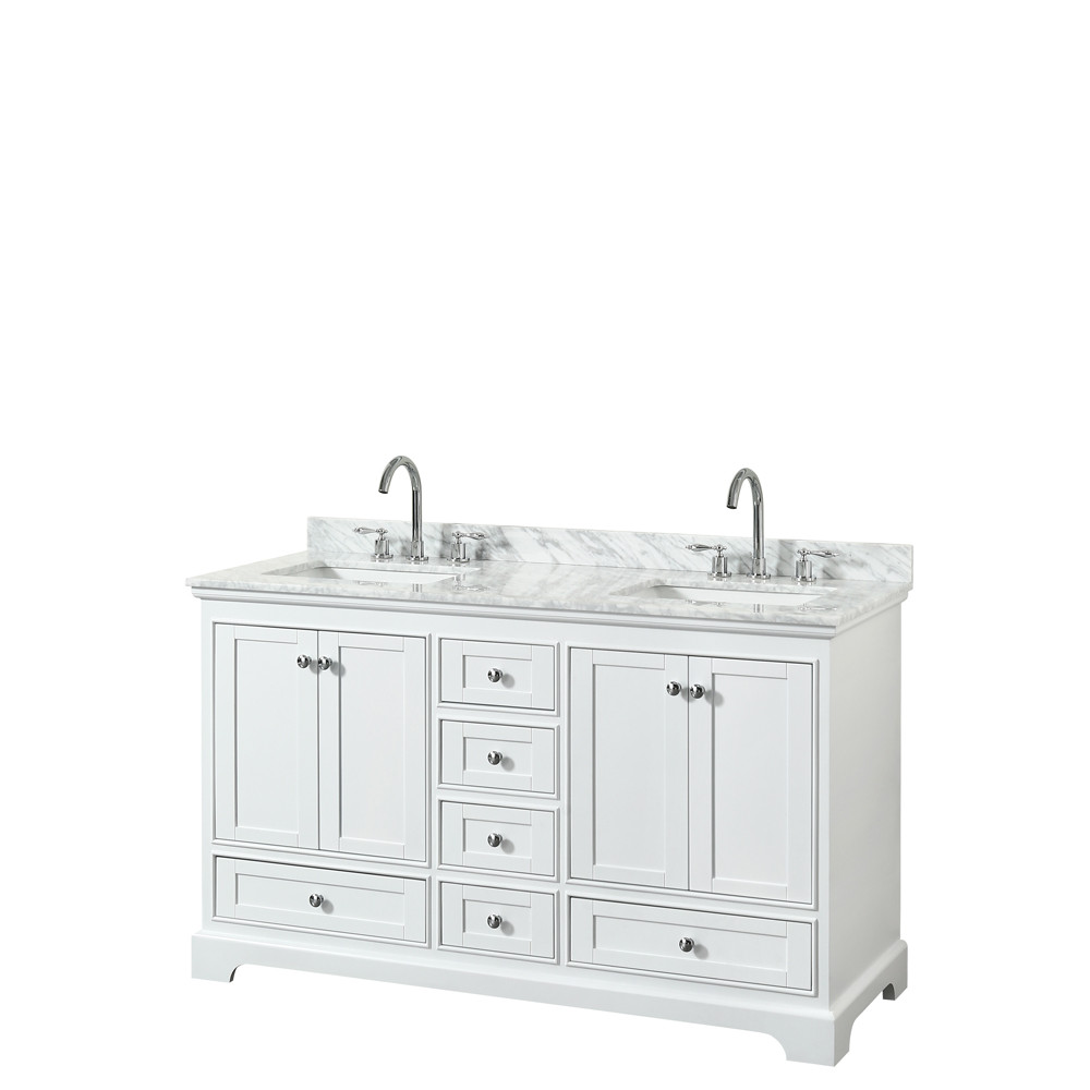 Wyndham WCS202060DWHCMUNSMXX Double Bath Vanity In White With Marble Top