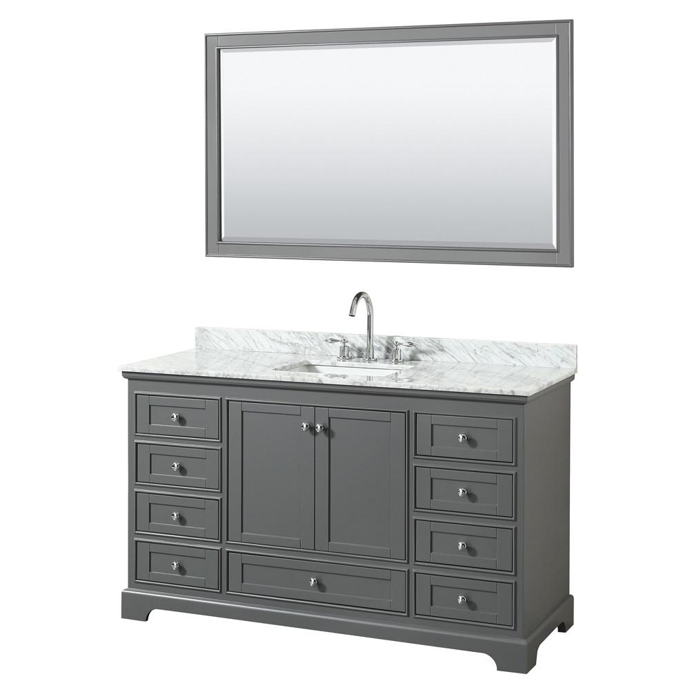 Wyndham WCS202060SKGCMUNSM58 Single Bath Vanity In Dark Gray With Mirror