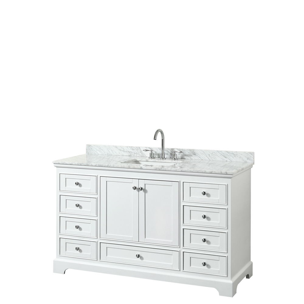 Wyndham WCS202060SWHCMUNSMXX Single Bath Vanity In White With Marble Top