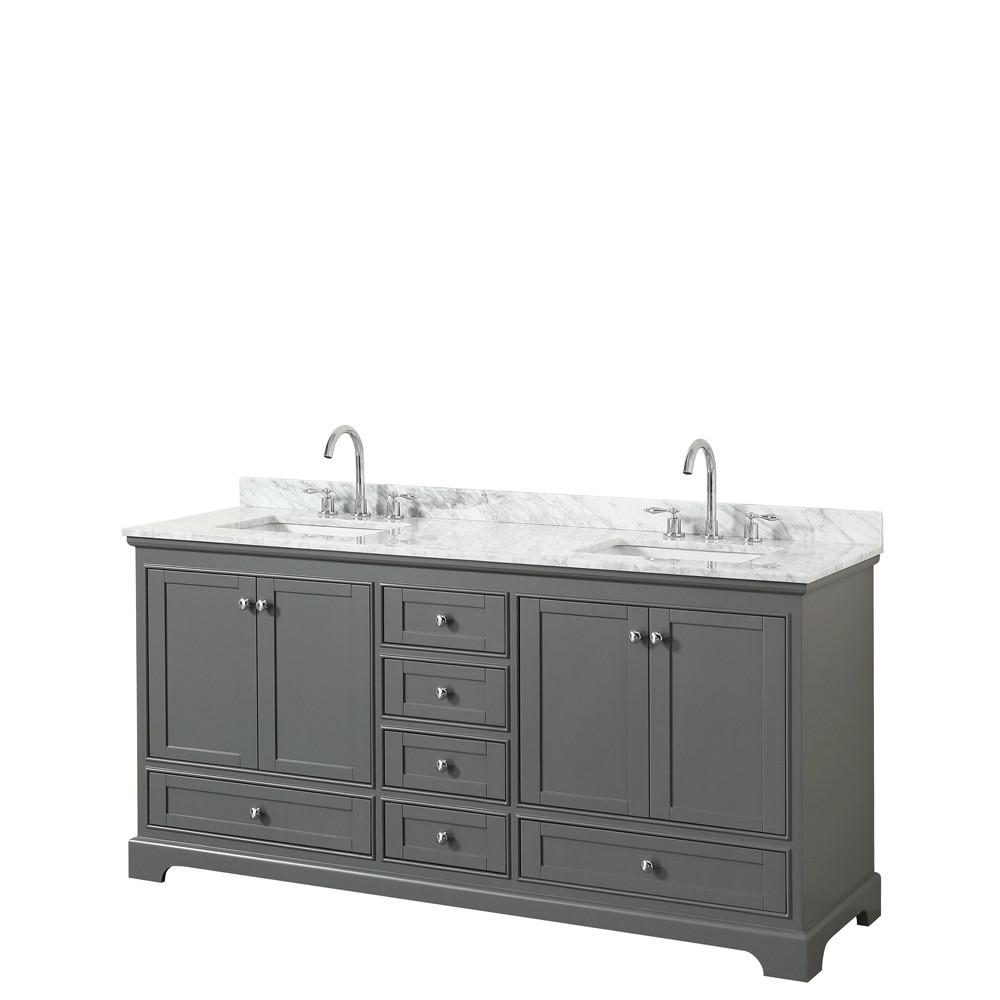 Wyndham WCS202072DKGCMUNSMXX Double Vanity In Dark Gray With Marble Top