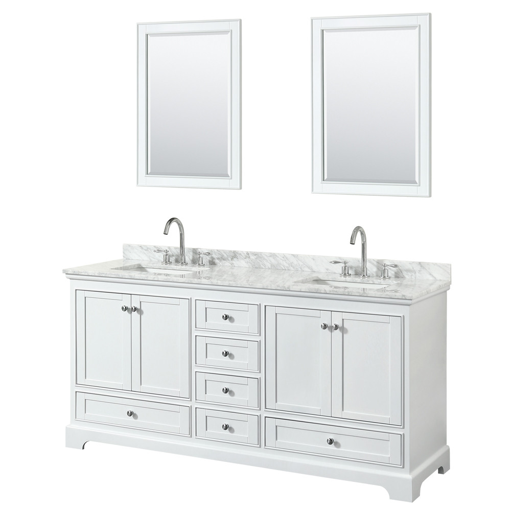 Wyndham WCS202072DWHCMUNSM24 Double Bathroom Vanity In White With Mirrors
