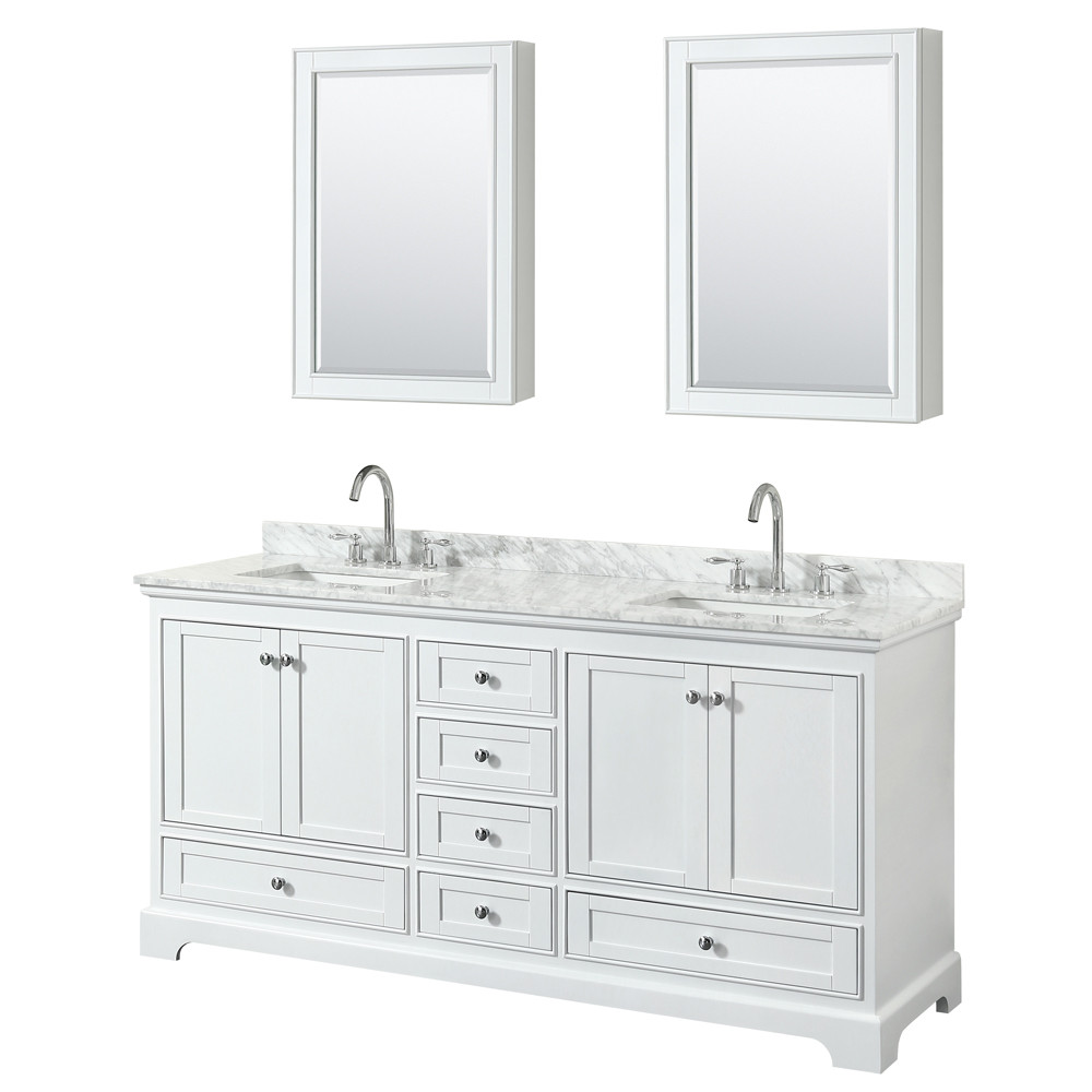 Wyndham WCS202072DWHCMUNSMED Double Vanity In White With Medicine Cabinets