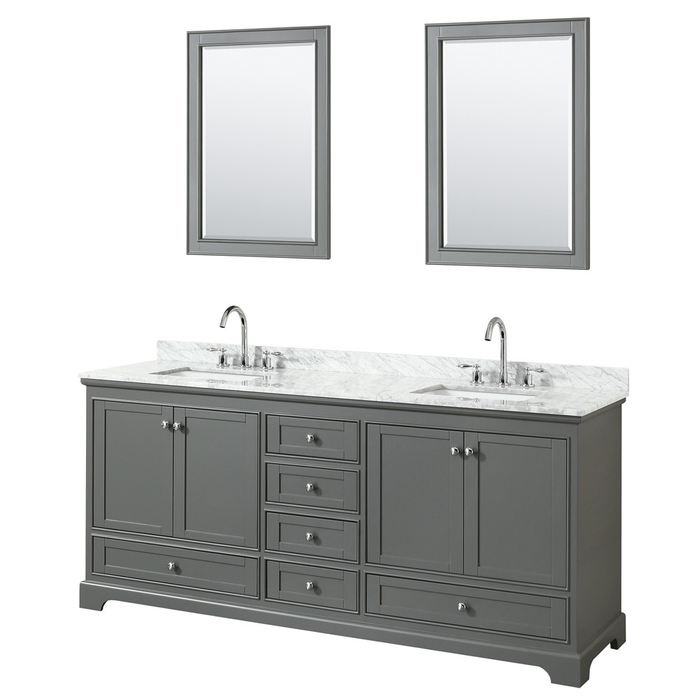 Wyndham WCS202080DKGCMUNSM24 Double Bath Vanity In Dark Gray With Mirrors