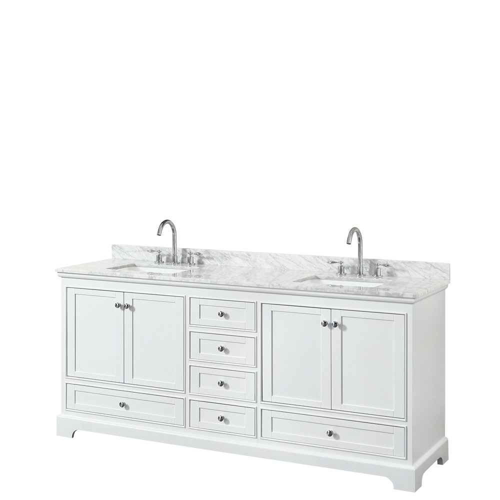 Wyndham WCS202080DWHCMUNSMXX Double Bath Vanity In White With Marble Top