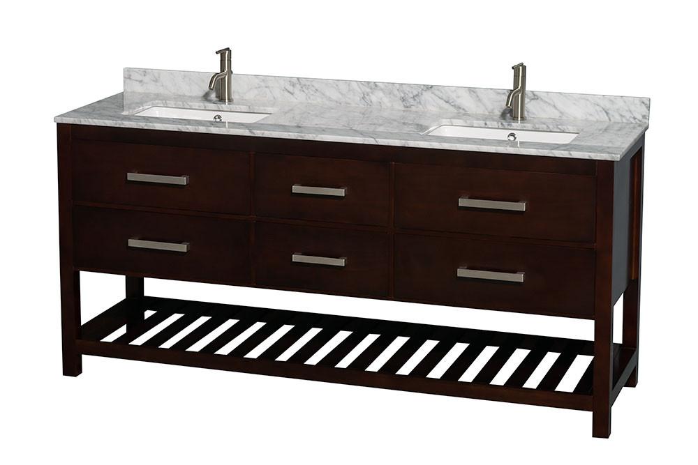 "Wyndham WCS211172DESCMUNSMXX 72"" Vanity in Espresso with Carrera Marble Top"