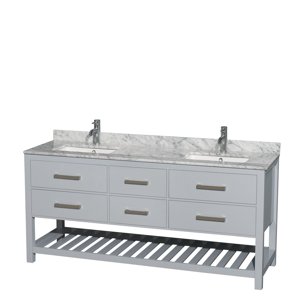 Wyndham WCS211172DGYCMUNSMXX Vanity in Gray with White Carrera Marble Top and Square Sinks