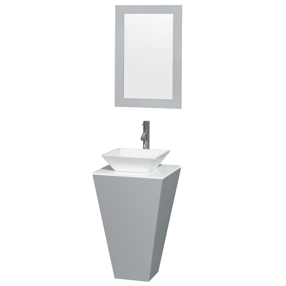 Wyndham WCSCS0420SGYWSD2WM20 Gray Pedestal Vanity with Pyra White Porcelain Sink