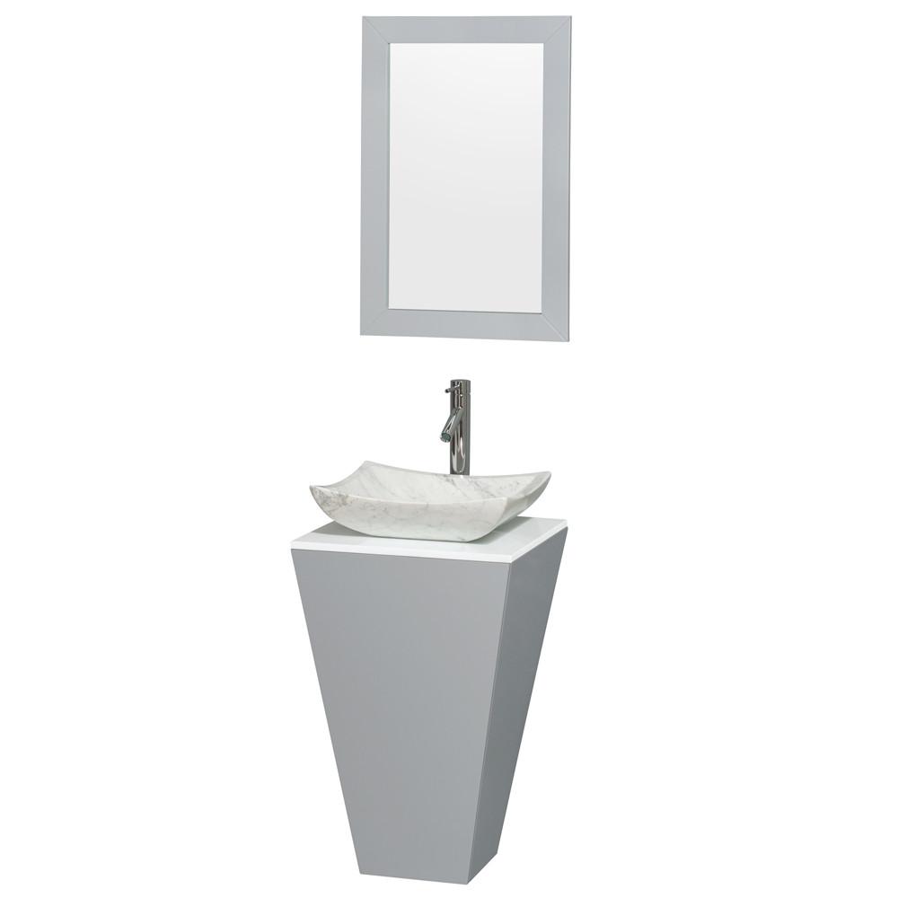 Wyndham WCSCS0420SGYWSGS3M20 Gray Pedestal Vanity with Arista White Carrera Marble Sink