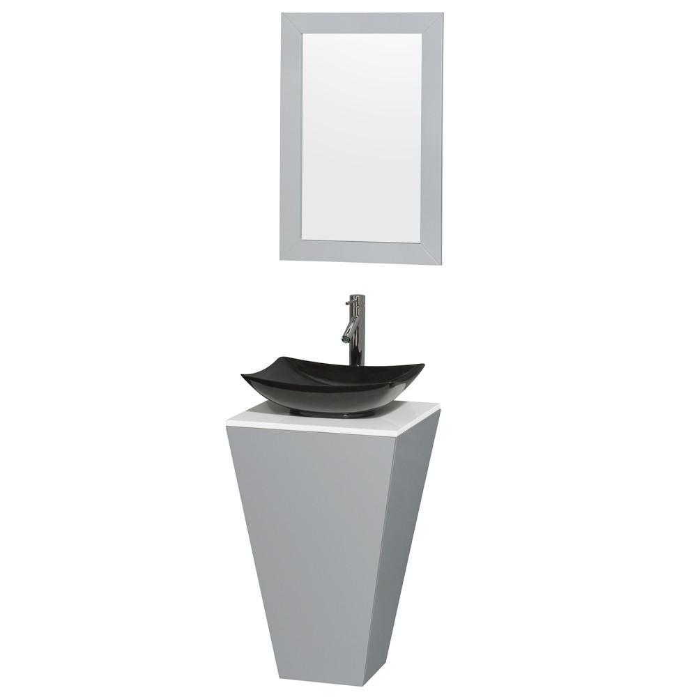 Wyndham WCSCS0420SGYWSGS4M20 Gray Pedestal Vanity with Altair Black Granite Sink