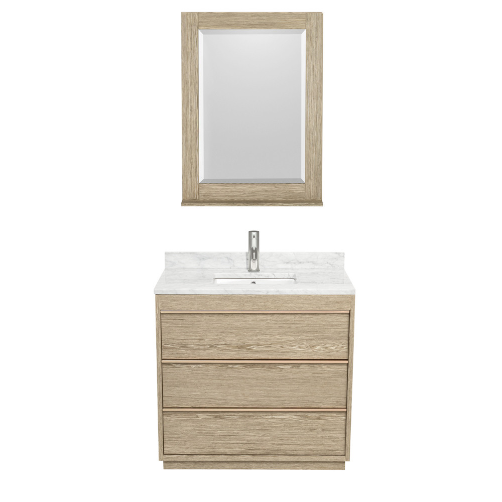 Wyndham WCV181836SAGCMUNSM24 Vanity Set In Ash Gray With 24 Inch Mirror