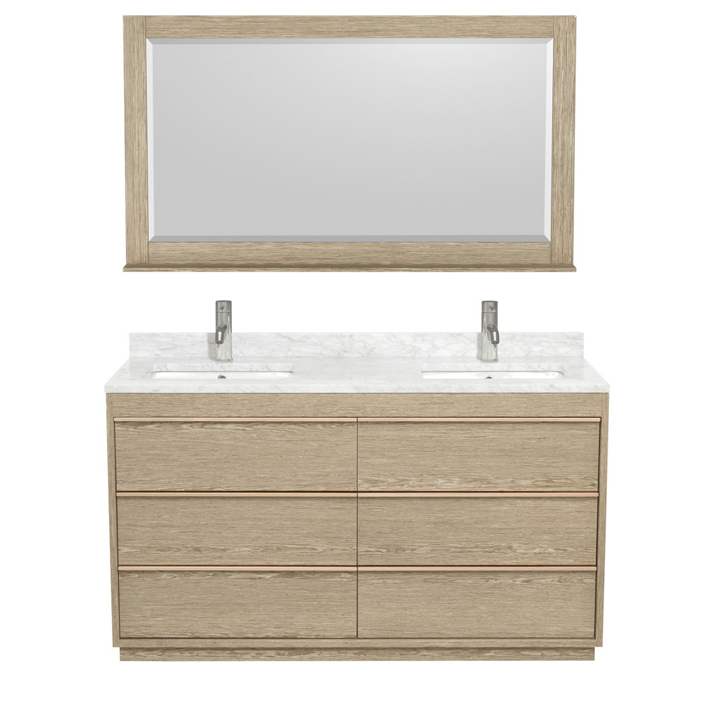 Wyndham WCV181860DAGCMUNSM58 Bath Vanity In Ash Gray With 58 Inch Mirror