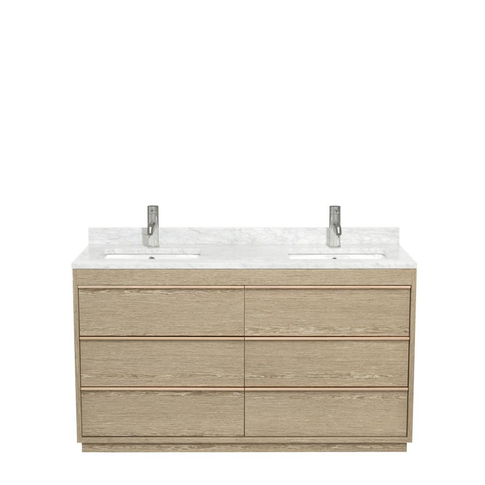 Wyndham WCV181860DAGCMUNSMXX Ash Gray Bath Vanity With Carrera Marble Top