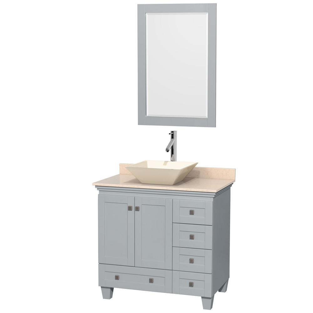 Wyndham WCV800036SOYCMD2BM24 Single Bathroom Vanity with Ivory Marble Countertop