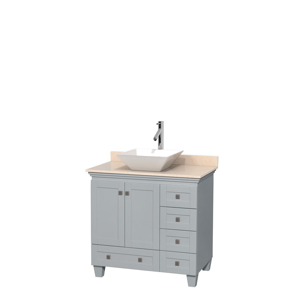 Wyndham WCV800036SOYIVD2WMXX Single Bathroom Vanity with Ivory Marble Countertop