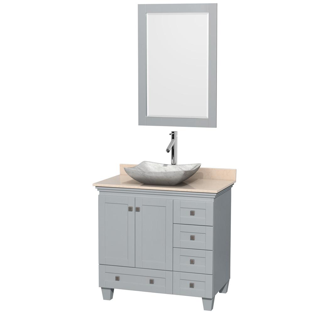 Wyndham WCV800036SOYIVGS3M24 36 Inch Single Bathroom Vanity with Ivory Marble Top