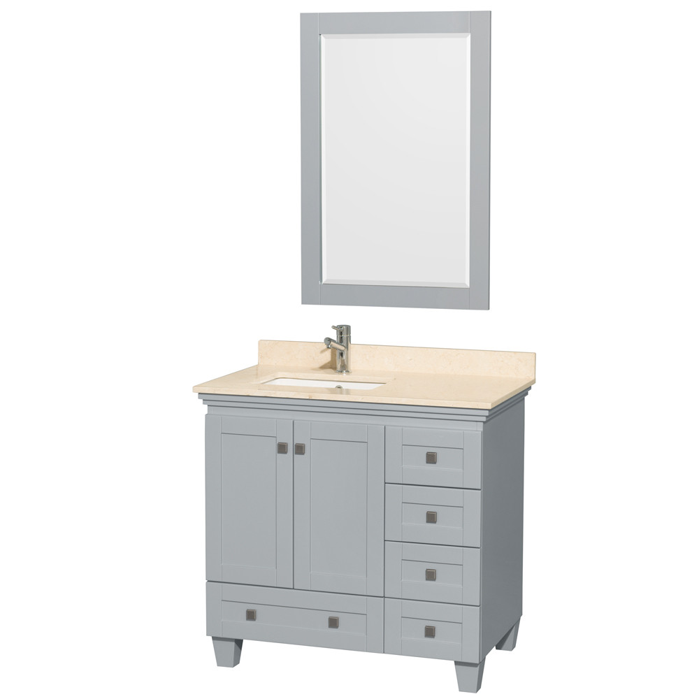 Wyndham WCV800036SOYIVUNSM24 36 Inch Bathroom Vanity with Ivory Marble Countertop
