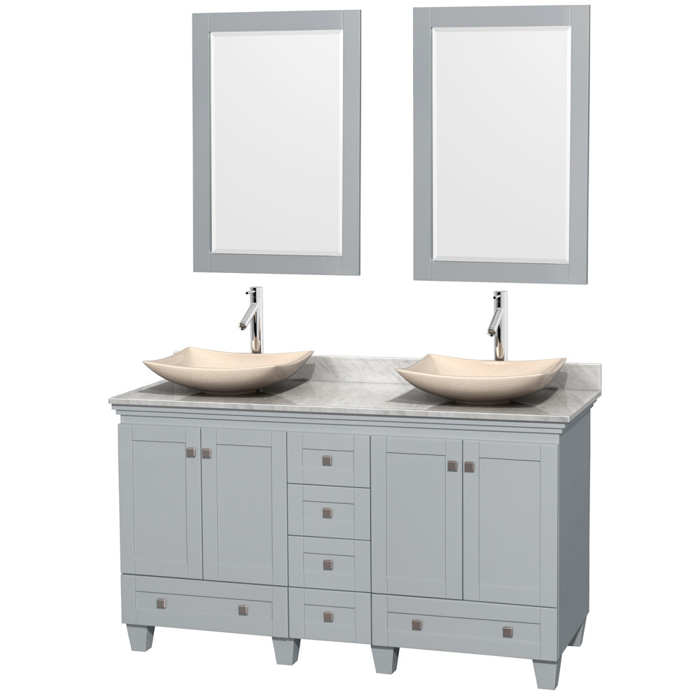 Wyndham WCV800060DOYCMGS5M24 Vanity in Oyster Gray with Mirrors & White Carrera Marble